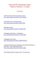 Padres do IBP (Instituto Bom Pastor) - Palestras e Homilias - 81 vídeos!.pdf
