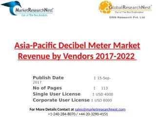 Asia-Pacific Decibel Meter Market Revenue by Vendors 2017-2022.pptx