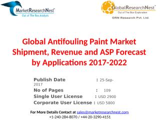 Global Antifouling Paint Market Shipment, Revenue and ASP Forecast by Applications 2017-2022.pptx