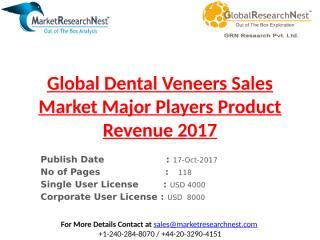 Global Dental Veneers Sales Market Major Players Product Revenue 2017.pptx