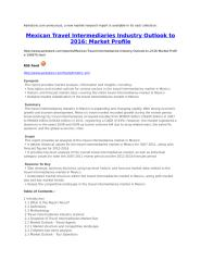 Mexican Travel Intermediaries Industry Outlook to 2016 Market Profile.doc